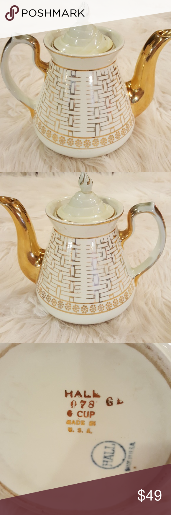 VINTAGE HALL #078  EVA ZEISEL GOLD WHITE TEAPOT Excellent vintage condition, see pics for handle flaws.  1940s.  Basketweave like pattern. Handle has missing gold gild on both sides.  8 inches with top x 7.5 spout to handle. Handle 7 inches.  No flaws on gold spout, see pic. Vintage Kitchen Coffee & Tea Accessories