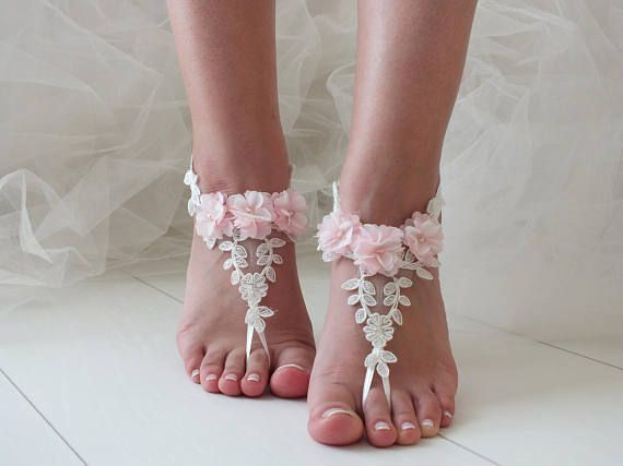 Barefoot Sandals, Lace Barefoot Sandals, Bridal Lace Shoes, Beach ...
