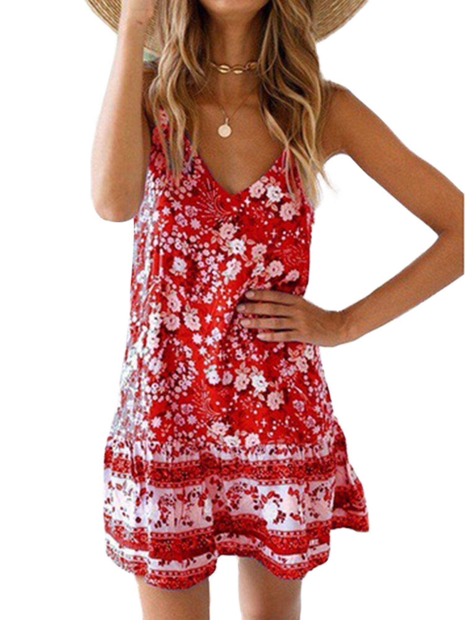 Lallc Women S Boho Floral Sleeveless V Neck Sundress Beach Loose Summer Mini Dresses In 2021 Mini Dresses Summer Boho Womens Clothing Sleeveless Skater Dress [ 2000 x 1500 Pixel ]