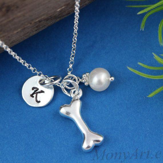 Dog Bone Necklace  Sterling Silver Bone necklace by MonyArt, $31.80
