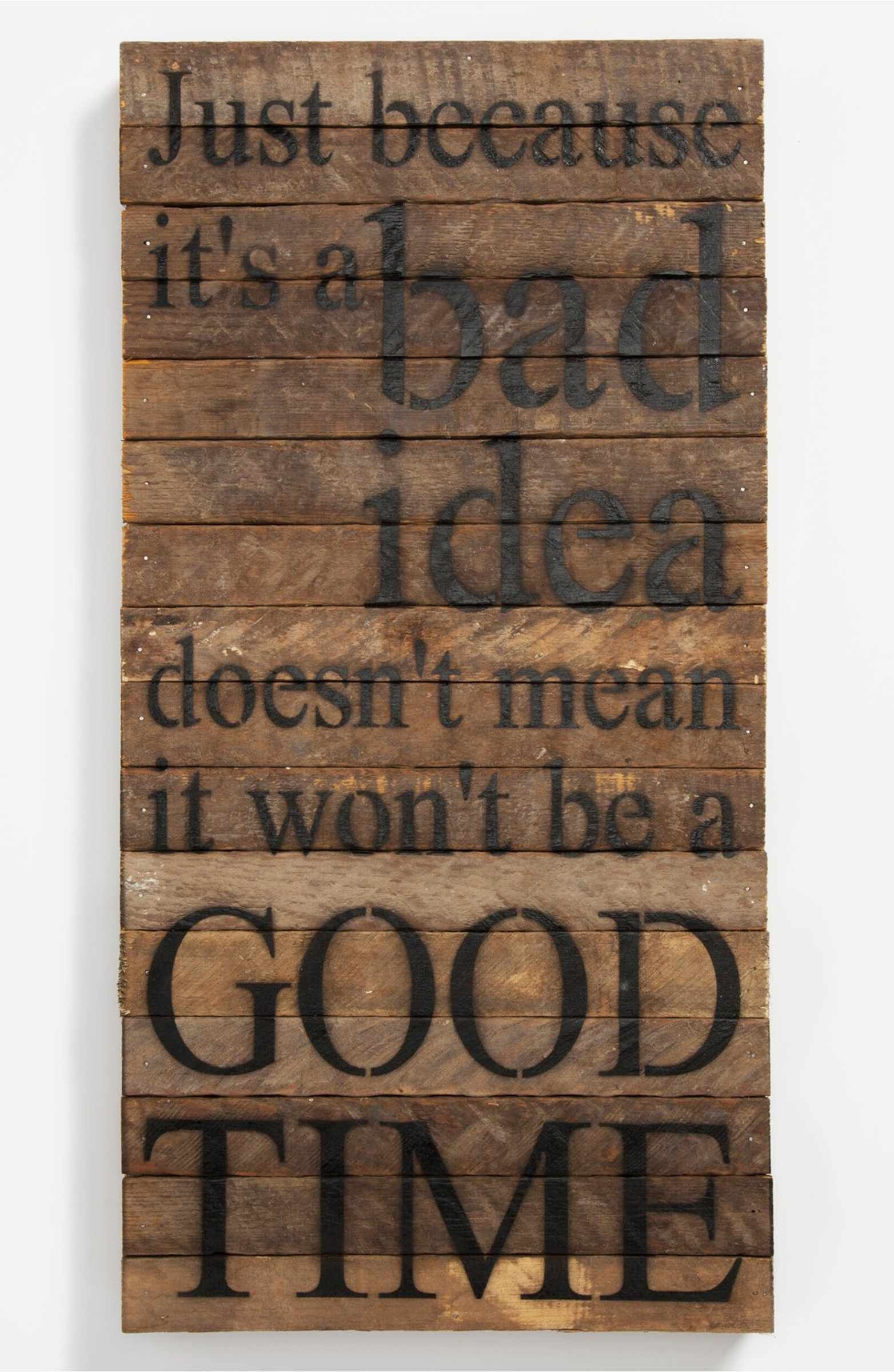 Main Image - 'Just Because It's a Bad Idea' Repurposed Wood Wall Art