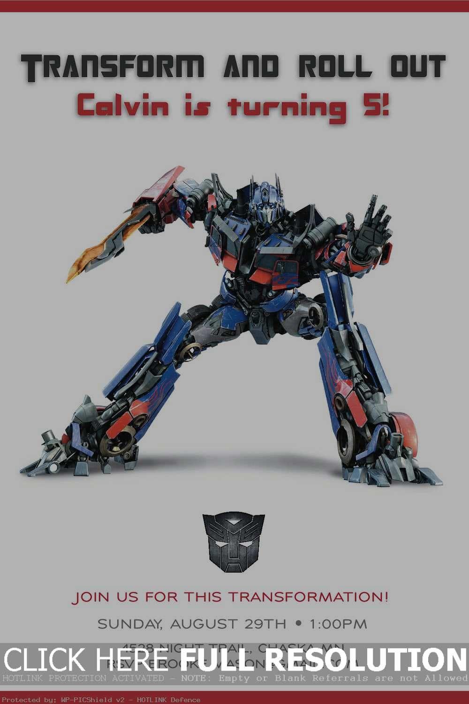 Transformers Birthday Party Invitations Template Transformers Birthday Parties Transformer Birthday Party Invite Template