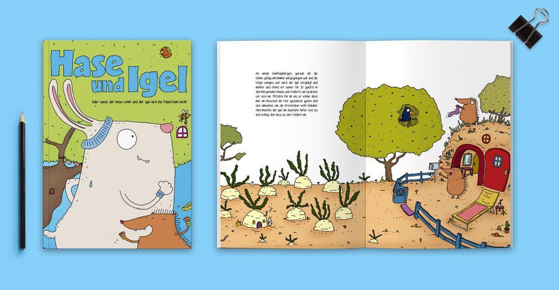 kinderbuchillustration - hase und igel | kinderbücher