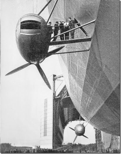 A group of engine mechanics gather on the access catwalk for engine car #3 as the Hindenburg is led out on March 26, 1936, in preparation for a three-day propaganda flight over Germany. Engine car #1 is in the background, positioned lower on the hull to avoid the slipstream from the forward engine. (photo courtesy of the Luftschiffbau Zeppelin GmBH Archive)