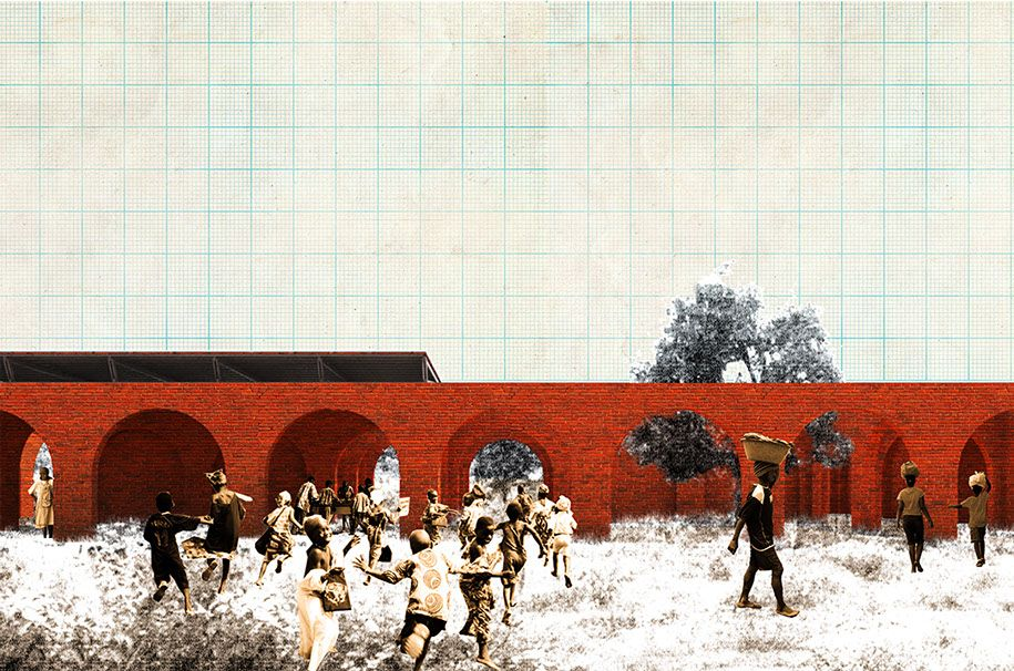 NICOLAS BRIGAND ARCHITECT - KYM FIELD SCHOOLS - IRMA BARON - CENTRAL AFRICAN REPUBLIC - MARKET / SCHOOL /  HOUSING UNITS WITH LOUIS LAMBERT, JEAN-PHILIPPE SUREAU AND VICTOR WICHROWSKI