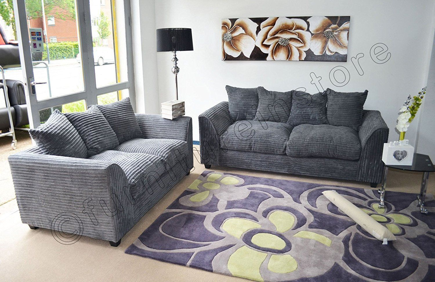 Dylan Byron Grey Fabric Jumbo Cord Sofa Settee Couch 3 2 Seater