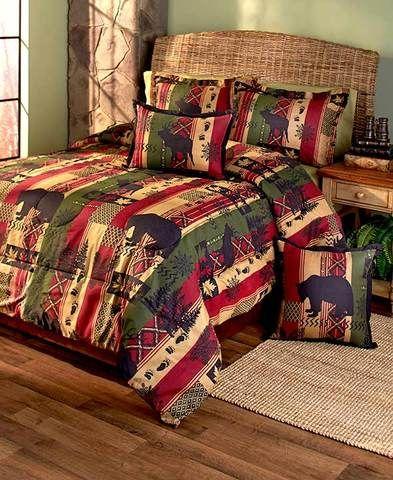 Rustic Primitive Lodge Comforter Set Bear Deer Silhouettes Twin