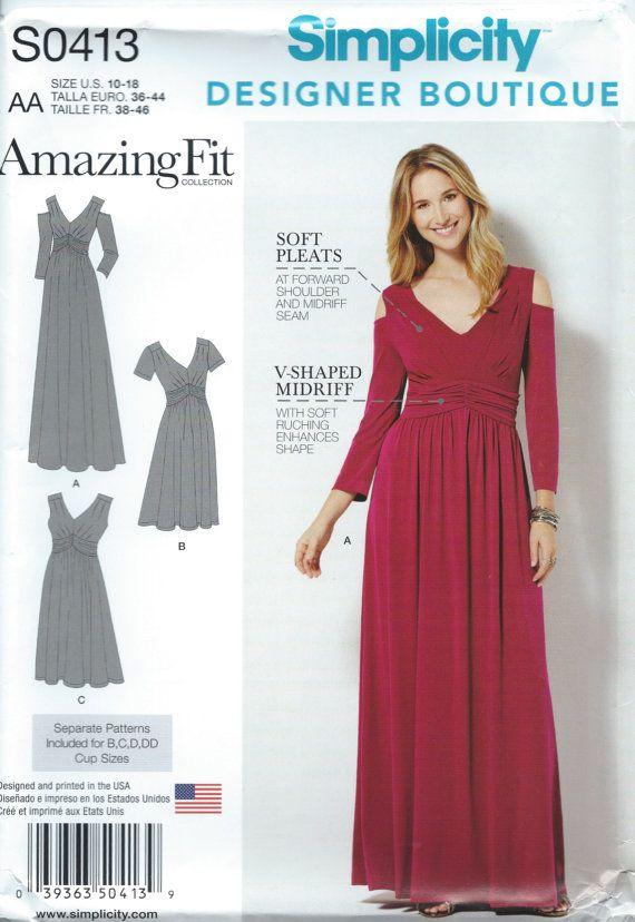UNCUT Modern Simplicity S0413 Dress Sewing Pattern Designer Boutique ...