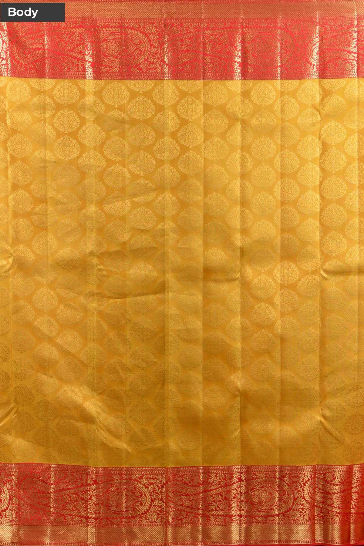 Yellow silk saree jonquil yellow zari woven kanchipuram silk sareekb  vijji