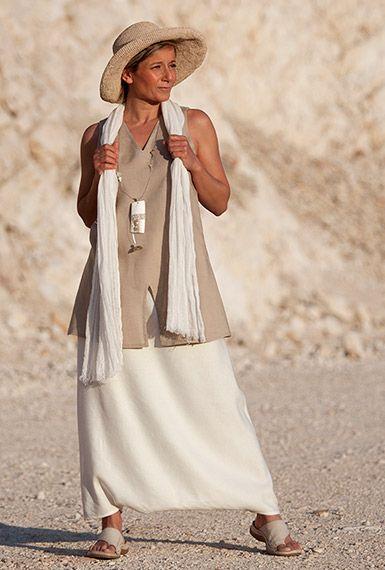 Ensemble en lin pour femme  tunique en lin beige et sarouel-jupe ... 0302b93a337c