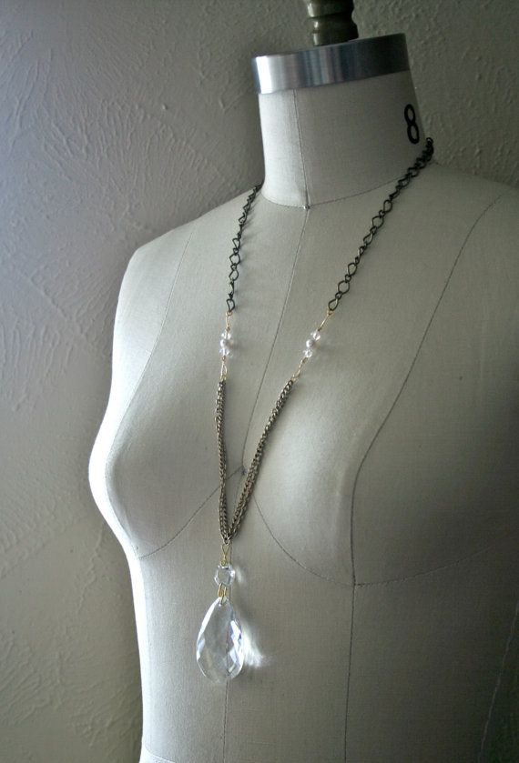 Tear Drop Chandelier Crystal Necklace With By WildPonyCollection - Upcycled chandelier crystals