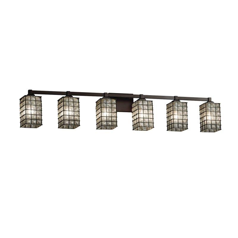 """Photo of Justice Design Group WGL-8436-15-GRCB Wire Glass 6 Light 49 """"Wide Bathroom Vanit Dark Bronze Indoor Lighting Bathroom Fixtures Vanity Light"""
