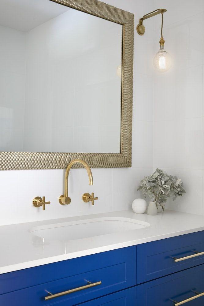 Manhattan Style Bathroom Renovation In Melbourne Blue Cabinets And - Bathroom renovation manhattan