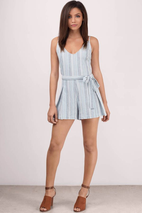 a64c3da03608 Line By Me Blue Multi Linen Striped Romper