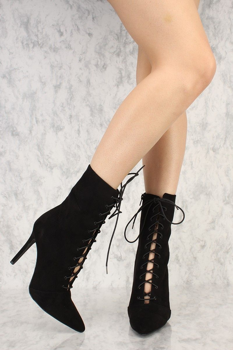 Women's Pointed Toe Chunky Heels Zipper Bling Bling Fuax Suede Mid Calf Boots