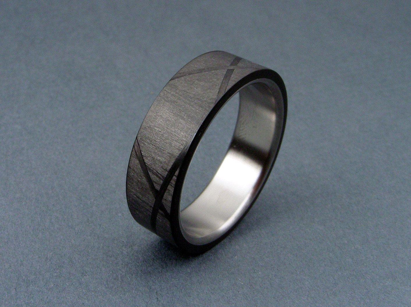 Carbon Fiber and Titanium ring Helix Pattern Titanium