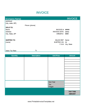 Blank Invoices To Print Prepossessing This Printable Basic Invoice Is Deep Blue Has Detailed Information .