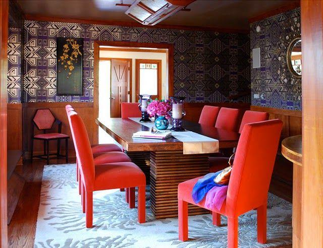Admirable Red Velvet Chairs Detailed Wallpaper Wood Wainscotting Uwap Interior Chair Design Uwaporg
