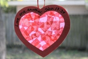 Heart Suncatcher craft for kids. Great for Valentine's Day or for a Bible lesson about love.