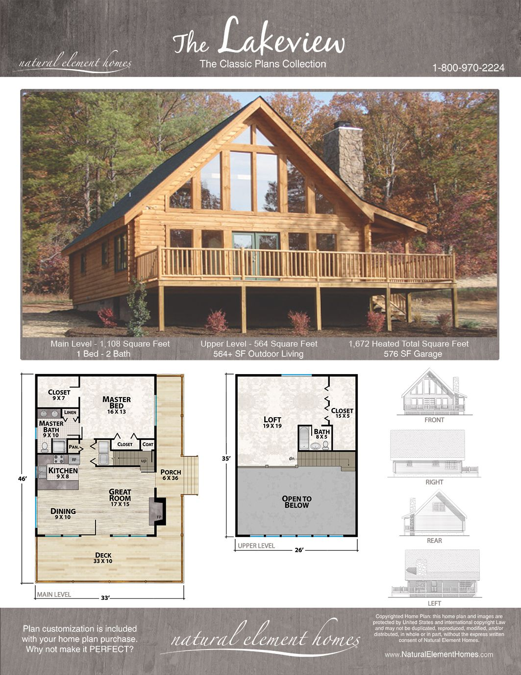 Lakeview Natural Element Homes Log Homes Love Love Love Put Bunk Beds In Loft Lake House Plans Mountain House Plans Cabin House Plans
