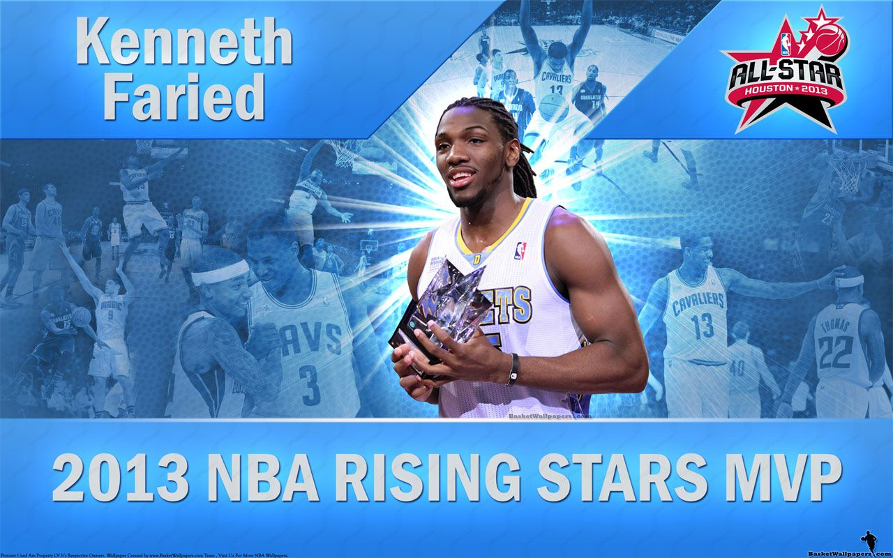 Widescreen Wallpaper Of Kenneth Faried With 2013 NBA Rising Stars Challenge MVP Trophy In His Hands