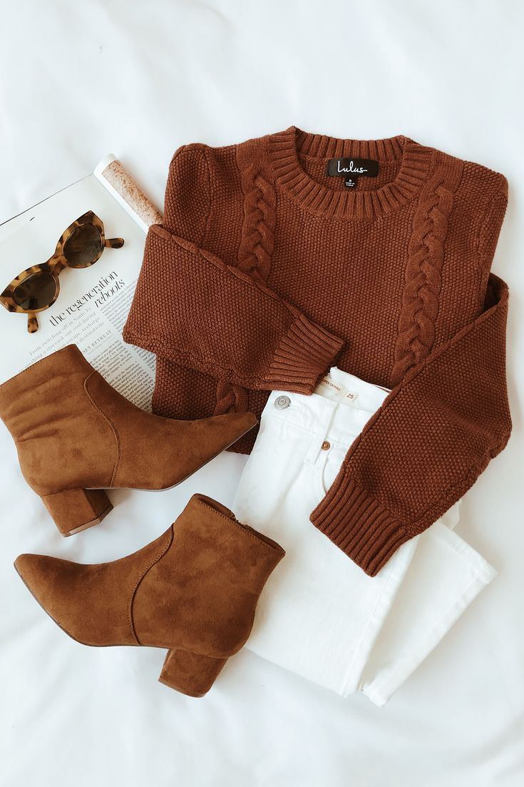 Halten Sie es Toasty Brown Cable Knit Sweater   – Fall & Winter Style