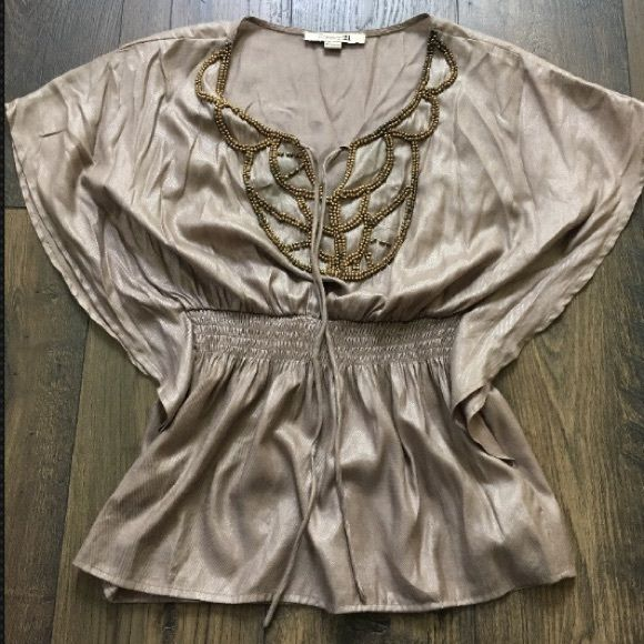Super Cute Forever 21 Blouse Super Cute Forever 21 Blouse  • size small • Some beading missing  • Color fade of some o the beading • 55% cotton • 40% polyester • 5% metallic 