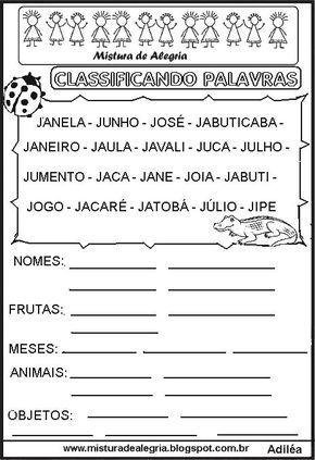 Sequ C3 Aancia Classificando Palavras Letra J Imprimir Co Com