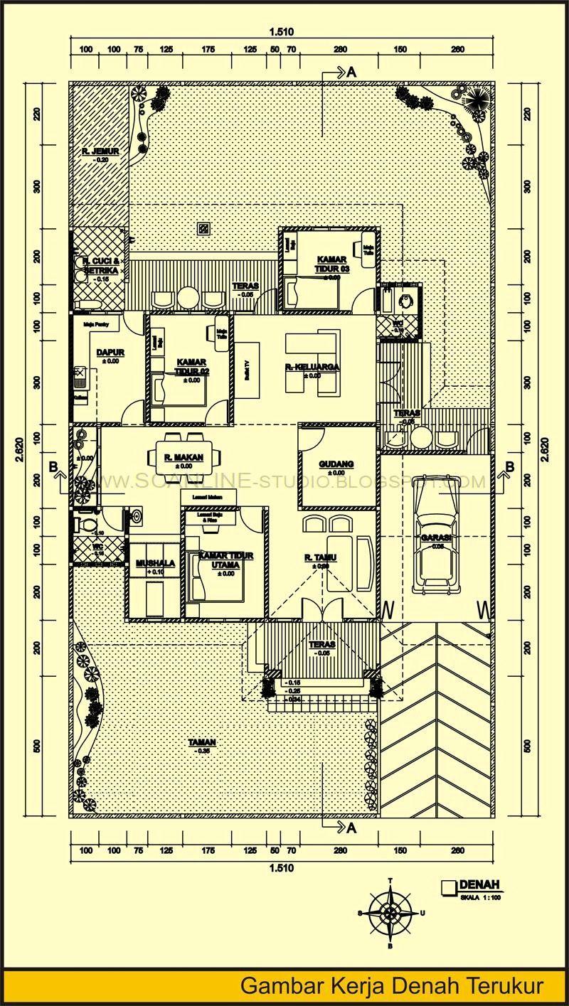 Gambar Denah Rumah Dan Ukuran Keterangan 1 Denah Rumah Desain Rumah