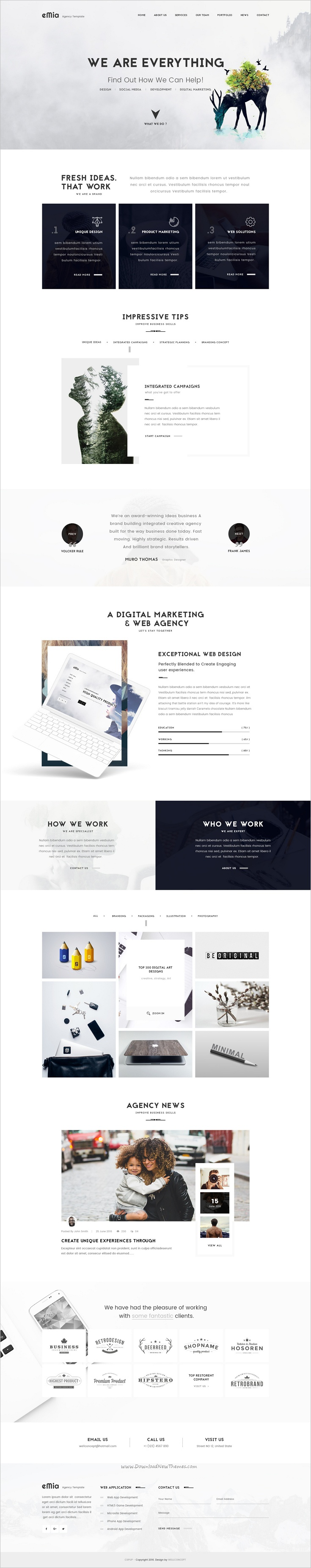 eMia is a professional #PSD Template for creative #Agencies ...