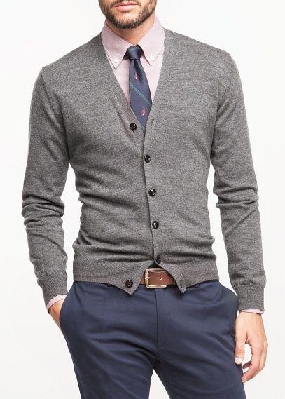 Dark Grey V Neck Wool Cardigan Look by H.E. Mango