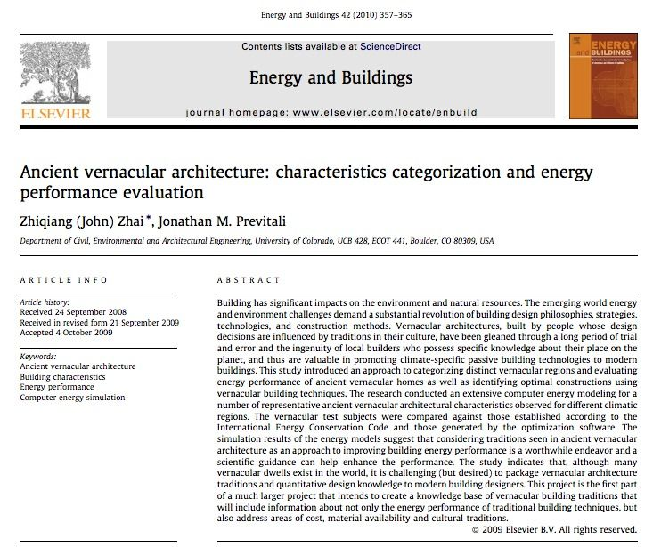 Ancient Vernacular Architecture Characteristics Categorization And Energy Performanc Architectural Engineering Vernacular Architecture Performance Evaluation