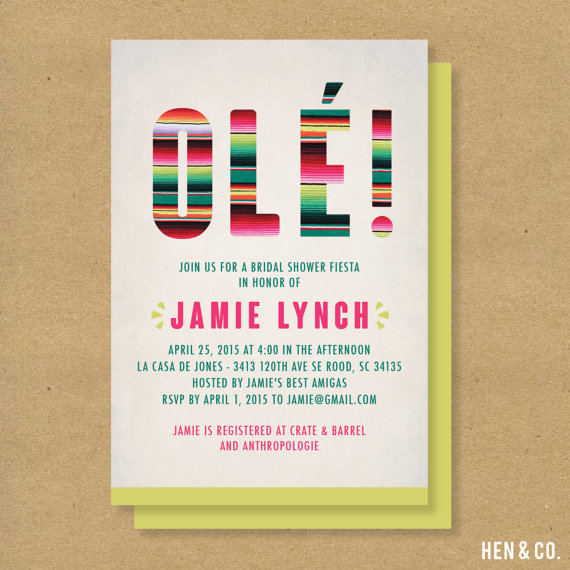 mexican fiesta themed baby shower or bridal shower invitation digital or printed party or shower invite