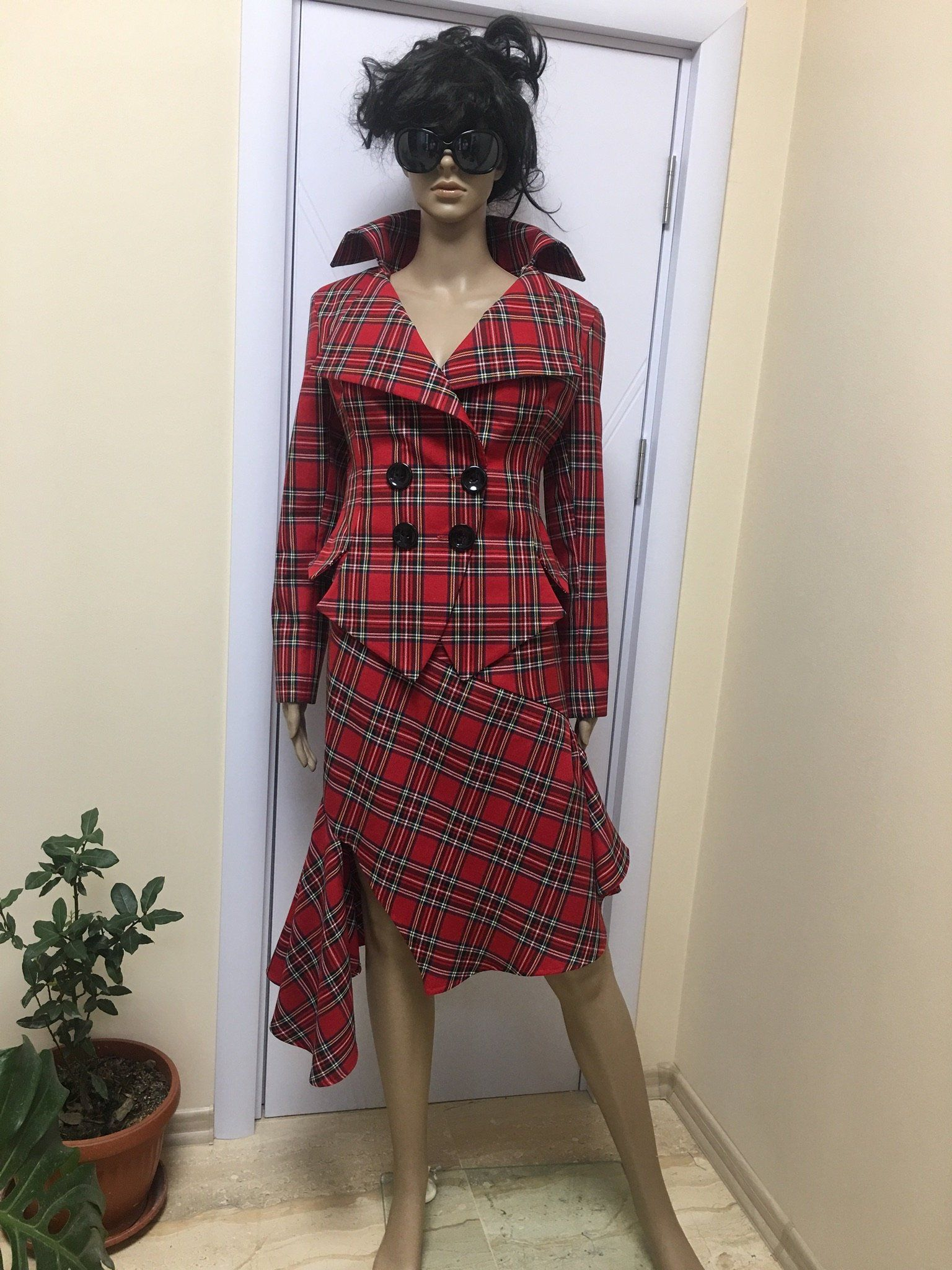 d48e58974d9dd6 Red Tartan checked Royal Stewart tailored suit /womens plaid jacket// lady  blazer/asymmertic skirt in Westwood style