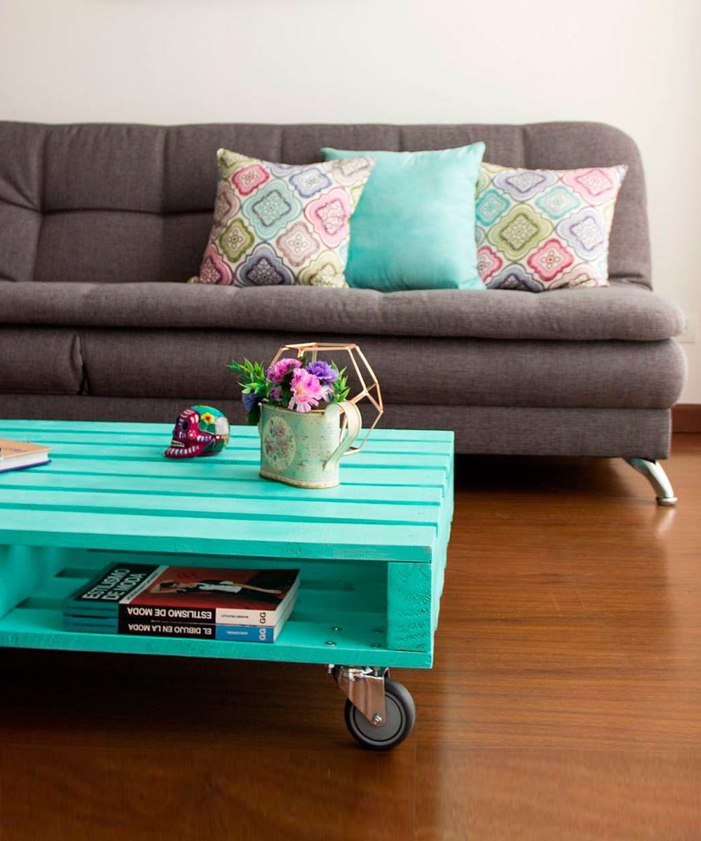 Mesa de centro con ruedas palets muebles con estibas decoracion vintage casa y muebles de pal s - Mesas de palets ...