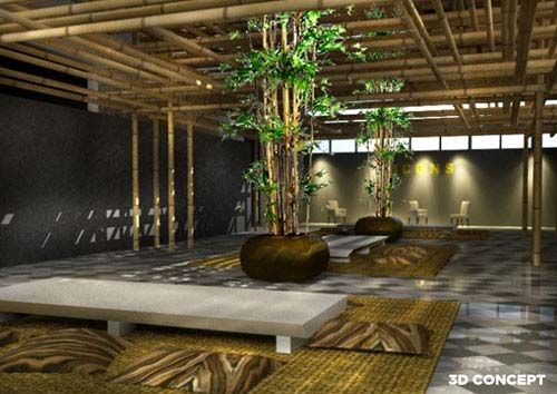 Natural Bamboo For Japanese Restaurant Decoration Style