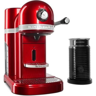 KitchenAid Nespresso 5-Cup Candy Apple Red Drip Espresso Machine with Milk Frother #espressomaker