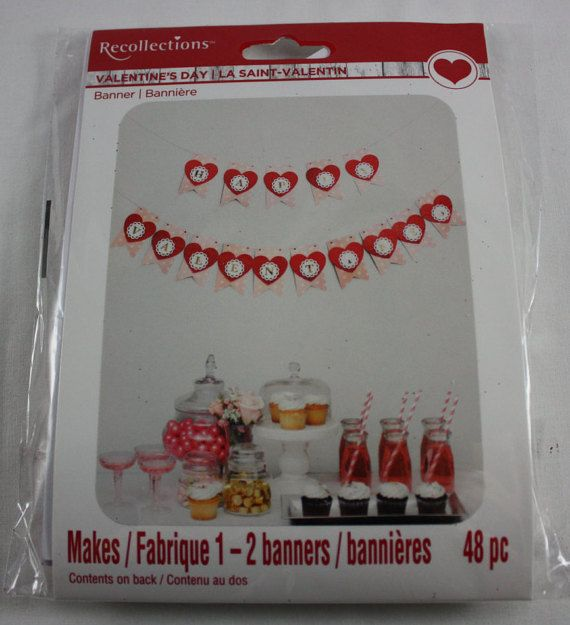 Valentines banner kit heart banner do it yourself paper craft valentines banner kit heart banner do it yourself paper craft solutioingenieria Image collections