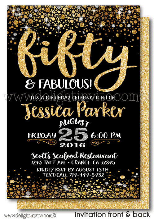 fifty and fabulous 50th birthday invitations  di
