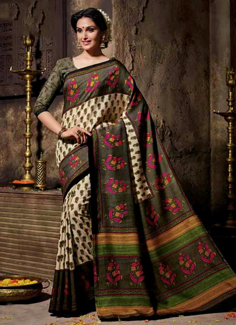 Saree for women wedding lively print work multi colour casual saree  casual style sarees