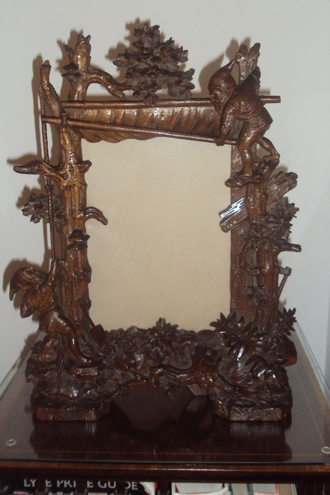 Gnome Black Forest Frame Carved Wood Mirrored Picture