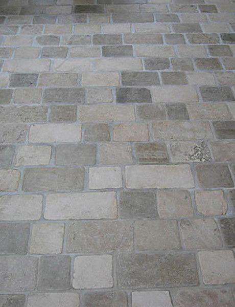 Cobble Stone Mosaics : Mudroom floor limestone tumbled cobblestone pavers