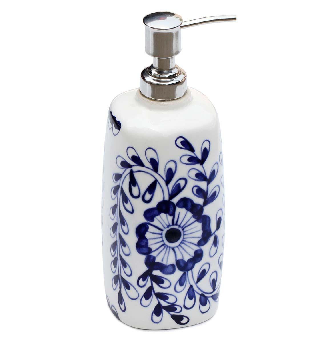 Blue Blooms - Blue and White Ceramic Liquid Soap / Lotion Dispenser ...
