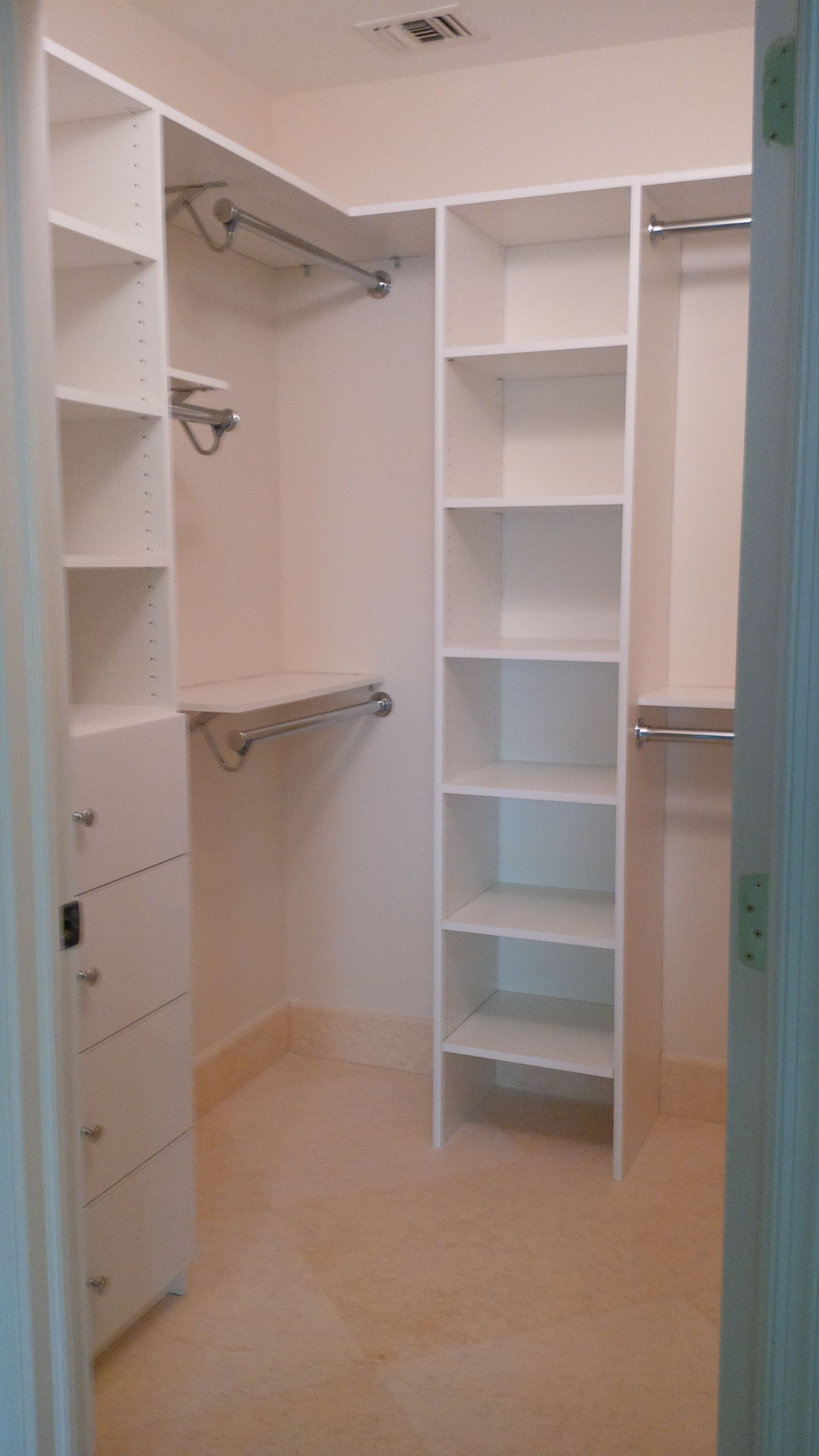 Custom Melamine Closet System combined with a Shelf and