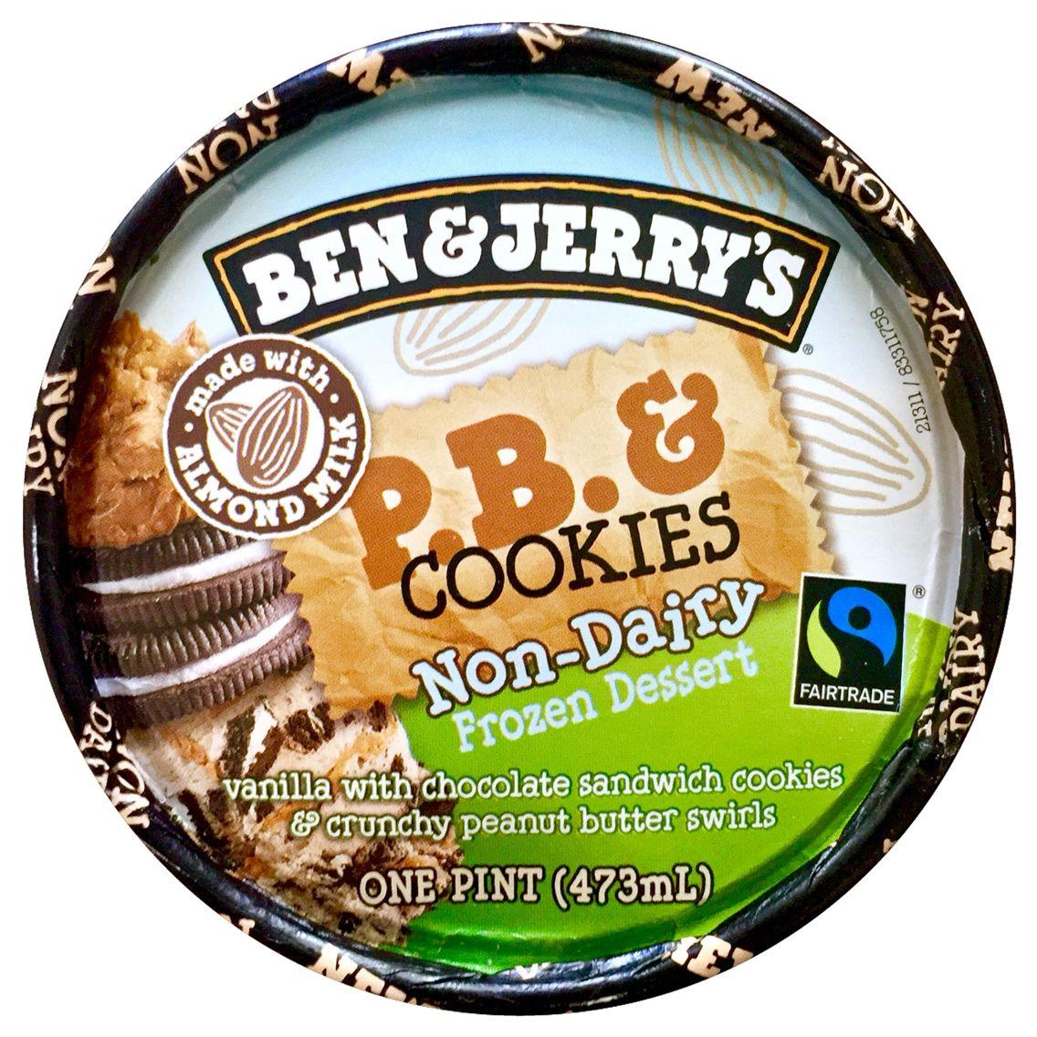 Ben \u0026 Jerry\u0027s P.B. \u0026 Cookies Non-Dairy Frozen Dessert, Pint, Scoop ...
