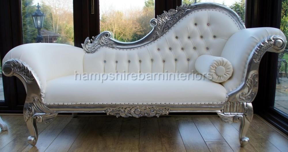 Enjoyable Ornate Chaise Longue Lounge Sofa Silver Leaf French White Creativecarmelina Interior Chair Design Creativecarmelinacom