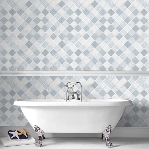 Wallpaper That Looks Like Tile Blue Google Search Blue Wallpapers Removable Wallpaper Loft Decor Industrial