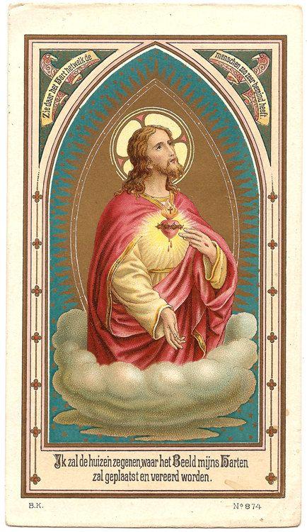 RARE Sacred Heart of Jesus Christ Antique Dutch by 12StarsVintage