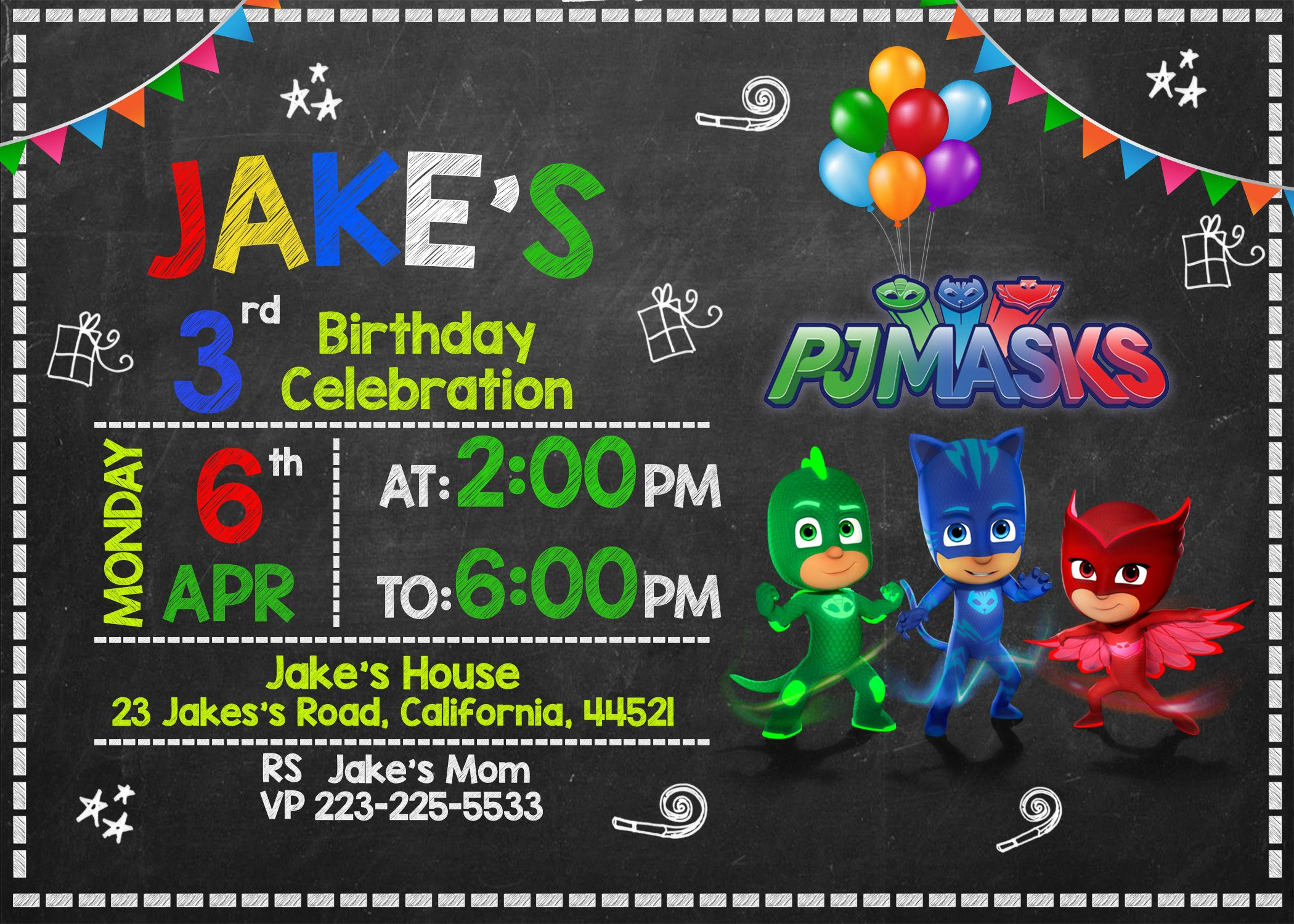 Free PJ Masks Invitation Printable Templates Download Birthday Party Invitations