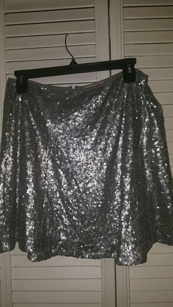 Women's Juniors Arizona Skater Skirt Silver Sequins Size LARGE NEW W Tags #Arizona #Skirt
